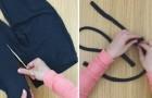 Recorta tiras de tela de un viejo par de leggings: mira que cosa obtiene