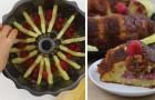 Posiciona ananas y frutillas en la fuente: cuando lo gira luego de la coccion el dulce es perfecto