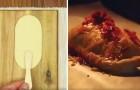 Hij snijdt het pizzadeeg in een bijzondere vorm en maakt een overheerlijke snack!
