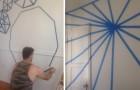 Fazem desenhos na parede com fita adesiva e depois pintam por cima: quando removem a fita o efeito é fantástico!
