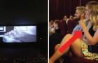 Va al cine con el novio pero cuando se apagan las lues comienza un