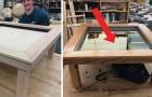 Um cara cria uma mesinha para a sala, mas quando aperta o botão revela um detalhe mágico