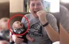 O papai come salgadinhos, mas fique de olho no bebê! Muito engraçado!