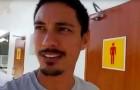 Er hält an, um auf die Toilette zu gehen: was er dann vorfindet zwingt ihn dazu, die Kamera zu holen