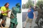 28 mensen die heel goed weten hoe ze een foto moeten maken vlakbij een standbeeld