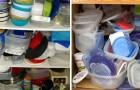 Hier zijn een paar geniale trucs om eindelijk orde te scheppen in de plastic bakjes