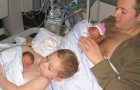 Het kind helpt de vader zijn te vroeg geboren broertjes op te voeden: de reden waarom hij ze op zijn borst legt is heel lief
