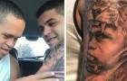 Se tatua el rostro del hermano pequeño con el sindrome de Down: cuando lo ve es toda emocion