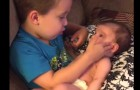 A little boy asks to hold his baby sister in his arms and a few seconds later, his mother is in tears