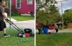 Un uomo taglia il prato della sua ex moglie: quando i figli gli chiedono perché, la risposta li lascia commossi