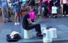 Incredibly talented street artist would challenge any drummer !