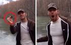 Hij gooit een steen in een bevroren meer: wat er gebeurt laat hem verstelt staan
