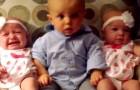 Um bebê encontra suas priminhas gêmeas: sua reação é muito engraçada!