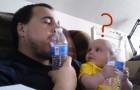 El papa comienza a imitarlo: la reaccion del bebe los hara morir de la risa