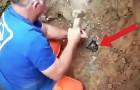 Scava un buco nel fango secco: ciò che sta per fare ti darà fiducia nel genere umano!