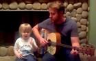 Papa e hijo de 3 años cantan una cancion de los Beatles: es un placer ver a este duo!