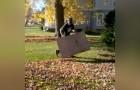 Il modo più veloce per liberarsi dalle foglie secche... usando SOLO un cartone