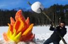Ciò che è riuscito a fare con la neve è incredibile... ma aspettate di vedere le altre sculture!