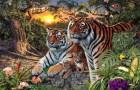 Les tigres sont très habiles dans l'art du camouflage : pouvez-vous dire combien sont-ils dans l'image ?