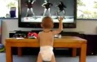 His favorite song is on TV --- His dancing makes the whole family laugh!
