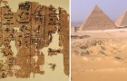 Op deze 4,500 jaar oude papyrusrol is dagelijks de bouwvoortgang van de piramide van Cheops