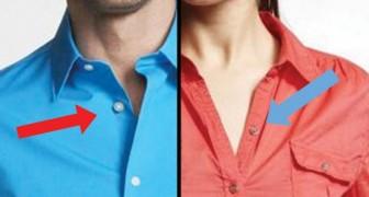 Warum haben Frauen- und Männerhemden die Knöpfe auf verschiedenen Seiten?