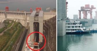 Construido en China el ascensor mas grande PARA BARCOS: aqui en accion