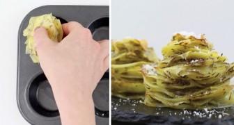 Ze plaatst plakjes aardappel in een muffinbakblik: zo maak je overheerlijke aardappeltorentjes! :-)