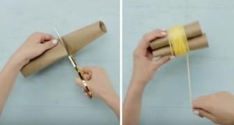 Maak je eigen pompons en lijm ze op een kleedje: het resultaat is zacht en schattig!