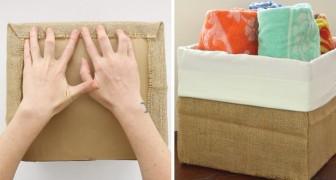 Zo kun je een kartonnen doos omtoveren tot multifunctionele mand met behulp van jute en een kussensloop!