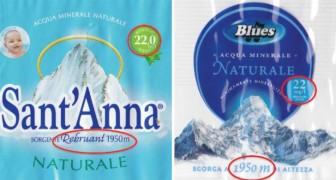 Acqua Sant'Anna e Acqua Blues: una costa il doppio dell'altra, ma guardate bene l'etichetta...