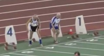 The sprint of two 90 years old young guys