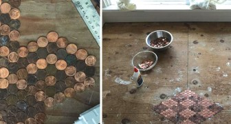 Er klebt 15.000 Pfennigstücke auf den Boden. Das Resultat ist unglaublich!