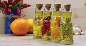 Four homemade infused olive oils