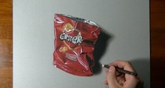 Drawing an empty packet of crisps