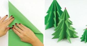Wie man aus einem einfachen Blatt Papier einen wunderschönen Weihnachtsbaum bastelt