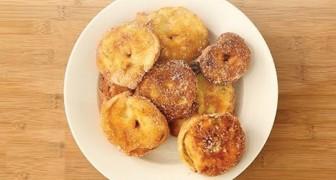 Deliciosos crepe de manzana hechos en casa. La merienda saludable para preparar en 5 minutos!
