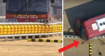 Un nuevo guardarrail inteligente: miren que cosa logra hacer frente a un autobus