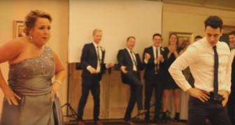 A mãe convence o noivo a dançar com ela: a exibição torna o casamento inesquecível!
