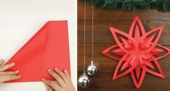 Lerne eine einfache Origami-Technik für einen wunderschönen Weihnachtsstern!