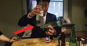 Tenta colocar em equilíbrio 4 garrafas: a habilidade deste homem é incrível!