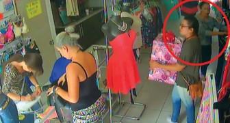 De winkelier is afgeleid waarna twee brutale dieven hun slag slaan!