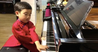 He was bored with his toy piano --- now look what he can do!