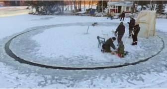 Sie schneiden eine runde Plattform ins Eis: der Grund dafür ist absolut genial!