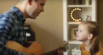 Um pai toca uma canção: quando a filha de três anos começa a cantar vira um espetáculo!