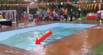 Llega el terremoto durante el pic-nic: miren que cosa sucede en la piscina