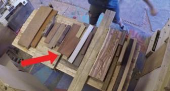Hij verzamelt restjes hout en maakt hier een prachtig voorwerp voor in huis van!