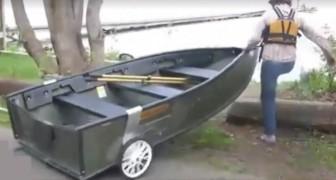 Este barco pode ser desmontado em poucos segundos e ser transportado em qualquer carro!