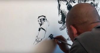 Dibujo a manos libres: la habilidad con que logra hacerlo este joven es sorprendente