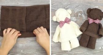 Ces ours en peluche créés avec des serviettes donneront une touche de douceur à votre salle de bain